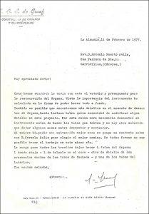 Carta de De Graaf a Don Antonio Puerto, 1977